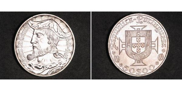 50 Эскудо Вторая Португальская республика (1933 - 1974) Серебро Vasco da Gama (1460 -1524)