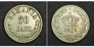 50 Ban Reino de Rumanía (1881-1947) Plata Carlos I de Rumania (1839 - 1914)