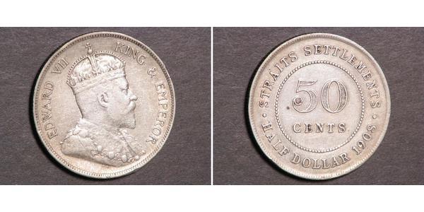 50 Cent Établissements des détroits (1826 - 1946) Argent Édouard VII (1841-1910)