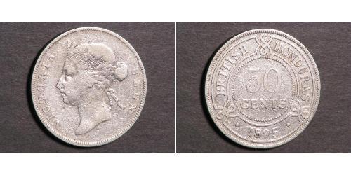 50 Cent British Honduras (1862-1981) Argent Victoria (1819 - 1901)