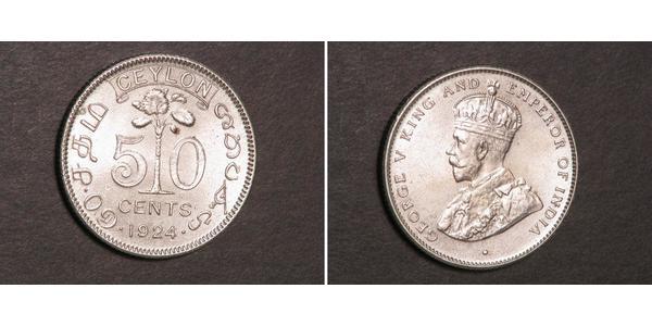 50 Cent Sri Lanka Argent George V (1865-1936)
