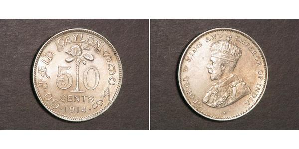 50 Cent Sri Lanka Argent George V (1865-1936)