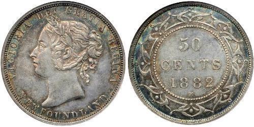 50 Cent Terre-Neuve-et-Labrador Argent Victoria (1819 - 1901)
