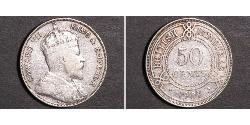 50 Cent British Honduras (1862-1981) Argento Edoardo VII (1841-1910)