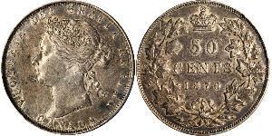 50 Cent Canada Argento Vittoria (1819 - 1901)