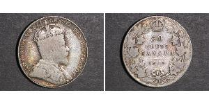 50 Cent Canada Argento Edoardo VII (1841-1910)