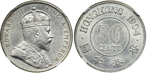 50 Cent Hong Kong Argento Edoardo VII (1841-1910)