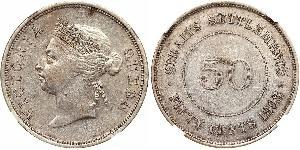 50 Cent Insediamenti dello Stretto (1826 - 1946) Argento Vittoria (1819 - 1901)