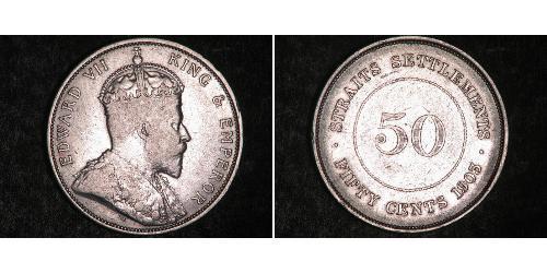 50 Cent Insediamenti dello Stretto (1826 - 1946) Argento Edoardo VII (1841-1910)