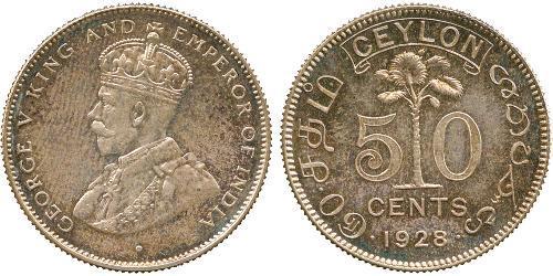 50 Cent Sri Lanka Argento Giorgio V (1865-1936)