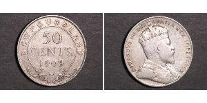 50 Cent Terranova e Labrador Argento Edoardo VII (1841-1910)