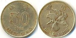 50 Cent Hong Kong Cobre/Latón
