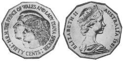 50 Cent Australia (1939 - ) Copper/Nickel Elizabeth II (1926-)