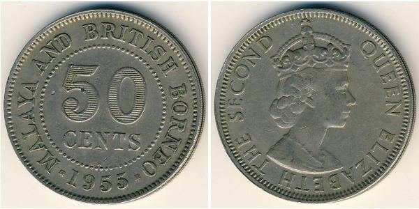 50 Cent Federation of Malaya (1948 - 1963) Copper/Nickel