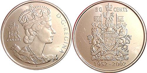 50 Cent Canadá Níquel Isabel II (1926-)