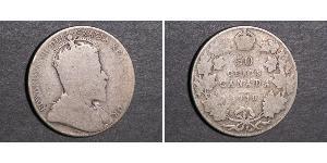50 Cent Canadá Plata Eduardo VII (1841-1910)