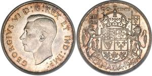 50 Cent Canadá Plata Jorge VI (1895-1952)