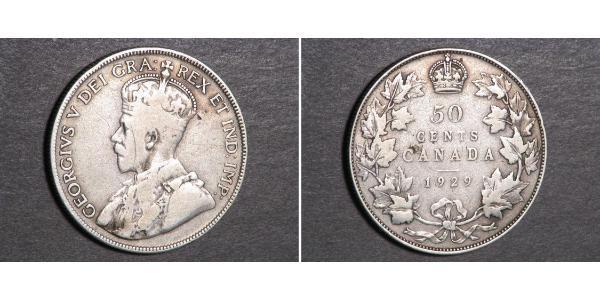 50 Cent Canadá Plata Jorge V (1865-1936)
