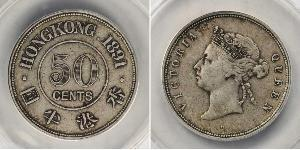 50 Cent Hong Kong Plata Victoria (1819 - 1901)