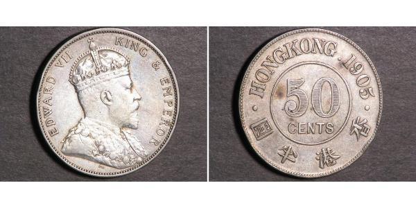 50 Cent Hong Kong Plata Eduardo VII (1841-1910)