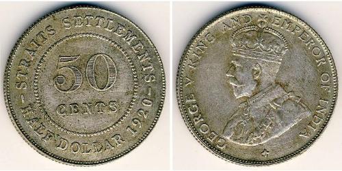 50 Cent Straits Settlements (1826 - 1946) Plata Jorge V (1865-1936)