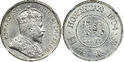 50 Cent Hongkong Silber Eduard VII (1841-1910)