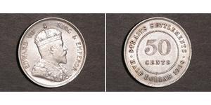 50 Cent Straits Settlements (1826 - 1946) Silber Eduard VII (1841-1910)