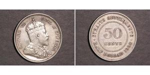 50 Cent Straits Settlements (1826 - 1946) Silver Edward VII (1841-1910)