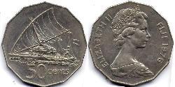 50 Cent Fidschi  Elizabeth II (1926-)