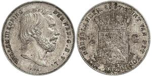 50 Cent / 1/2 Gulden Royaume des Pays-Bas (1815 - ) Argent Guillaume III (roi des Pays-Bas)