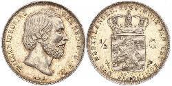 50 Cent / 1/2 Gulden Königreich der Niederlande (1815 - ) Silber Wilhelm III. (Niederlande)