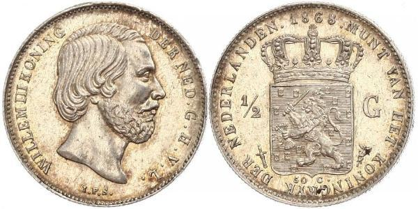 50 Cent / 1/2 Gulden Kingdom of the Netherlands (1815 - ) Silver William III of the Netherlands