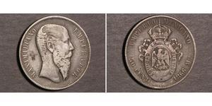 50 Centavo Secondo Impero Messicano (1864 - 1867) Argento Maximilian I of Mexico (1832 - 1867)
