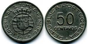 50 Centavo São Tomé and Príncipe (1469 - 1975) Copper/Zinc/Nickel
