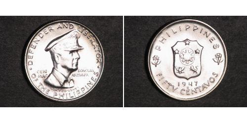 50 Centavo Filipinas Plata Douglas MacArthur (1880 - 1964)
