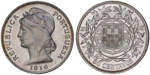 50 Centavo Primera República Portuguesa (1910 - 1926) Plata