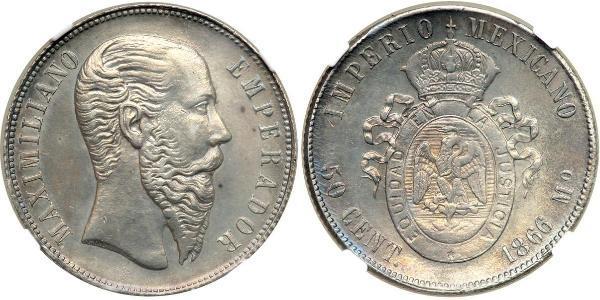 50 Centavo Kaiserreich Mexiko (1864 - 1867) Silber Maximilian I of Mexico (1832 - 1867)