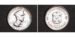 50 Centavo Philippines Silver Douglas MacArthur (1880 - 1964)