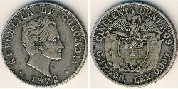 50 Centavo Republic of Colombia (1886 - ) Silver
