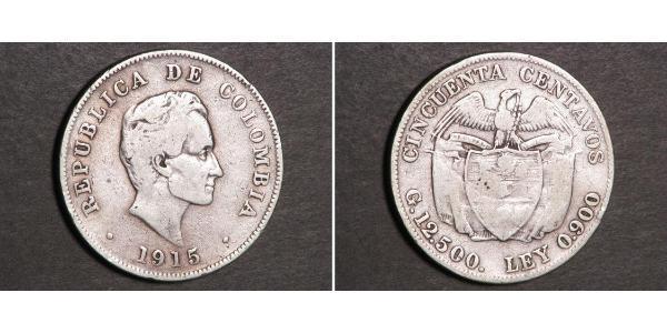 50 Centavo Republic of Colombia (1886 - ) Silver