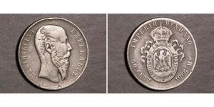 50 Centavo Second Mexican Empire (1864 - 1867) Silver Maximilian I of Mexico (1832 - 1867)