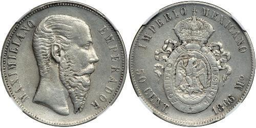 50 Centavo Second Mexican Empire (1864 - 1867) Silver Maximilian I of Mexico (1832 - 1867)