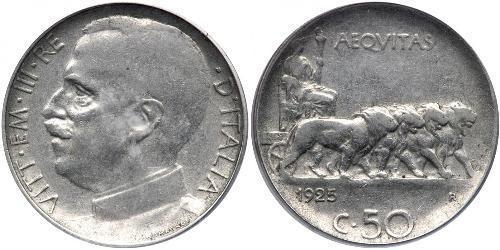 50 Centesimo 意大利王國 (1861-1946) 镍 维托里奥·埃马努埃莱三世 (1869 - 1947)