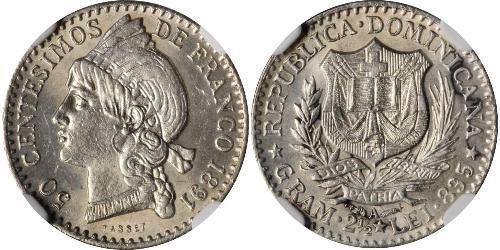 50 Centesimo République dominicaine Argent