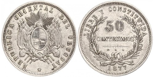 50 Centesimo Uruguay Argent