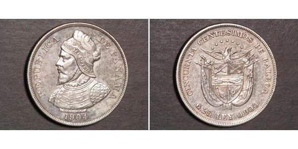 50 Centesimo Panamá Argento Vasco Núñez de Balboa (1475 – 1519)