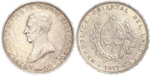 50 Centesimo Uruguay Argento José Gervasio Artigas