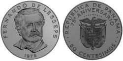 50 Centesimo Republic of Panama Copper/Nickel Ferdinand de Lesseps (1805 – 1894)