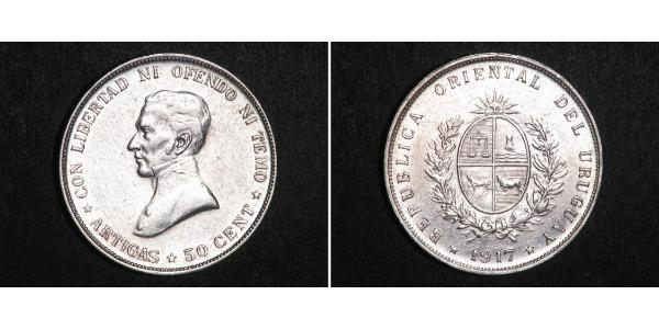 50 Centesimo Uruguay Silber José Gervasio Artigas