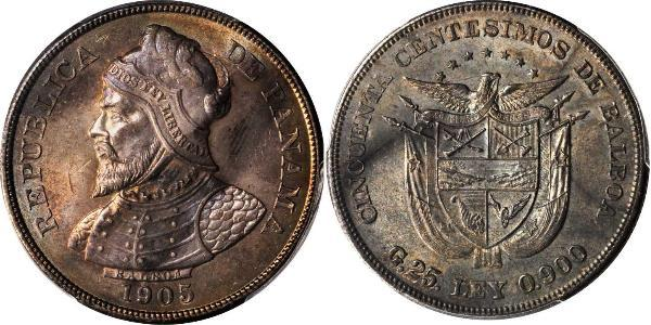 50 Centesimo Republic of Panama Silver Vasco Núñez de Balboa (1475 – 1519)